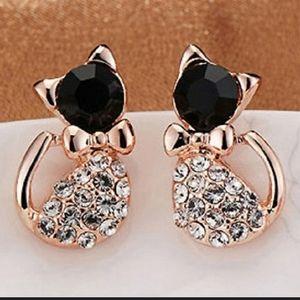 New Rhinestone Kitten Cat Earrings